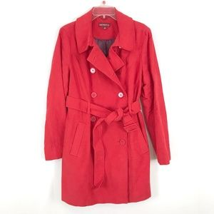 Merona red trench coat jacket double breasted